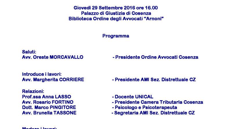 """FORMAZIONE PERMANENTE 2016. """"ASSEGNO DI MANTENIMENTO NELLE PROCEDURE DI SEPARAZIONE: ASPETTI GIURIDICI, FISCALI E PSICO-SOCIALI"""""""