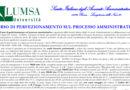 Corso di perfezionamento sul Processo Amministrativo (LUMSA – Roma, 26 gennaio – 23 marzo 2018)