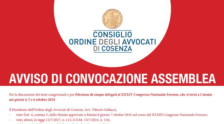 XXXIV CONGRESSO NAZIONALE FORENSE Elezione Delegati 4-5-6 ottobre 2018
