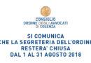 Chiusura uffici di Segreteria