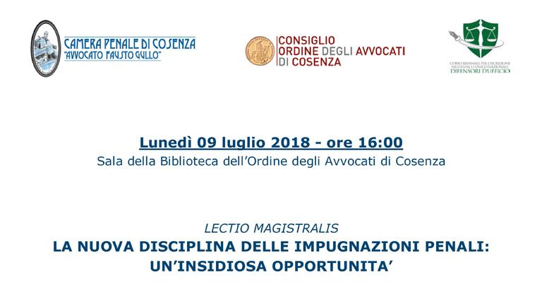 Lectio Magistralis prof. avv. Alessandro Diddi Lunedì 9 luglio 2018 ore 16.00