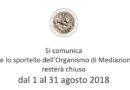 Chiusura Segreteria Organismo di Mediazione