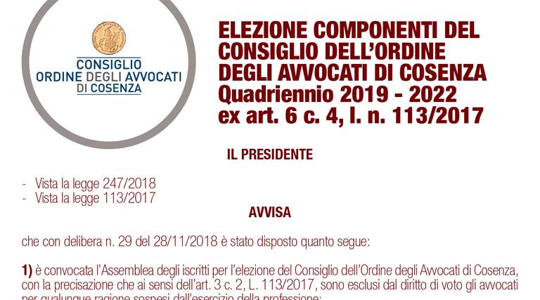 Avviso elezioni componenti del Consiglio dell'Ordine degli Avvocati di Cosenza quadriennio 2019 – 2022