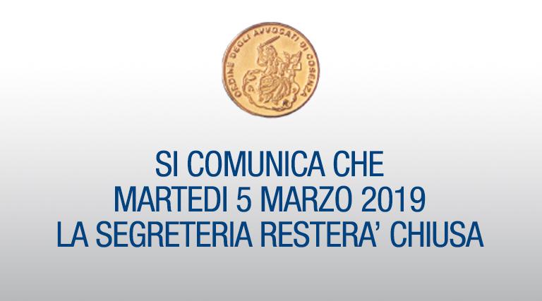 Chiusura Segreteria 5 marzo 2019