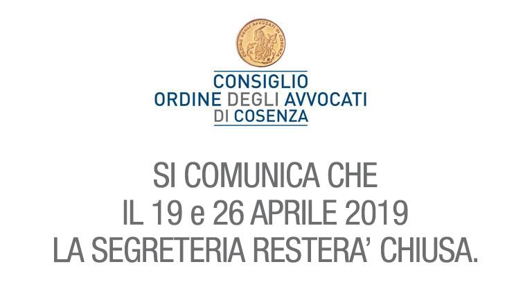 Chiusura Segreteria 19 e 26 Aprile 2019