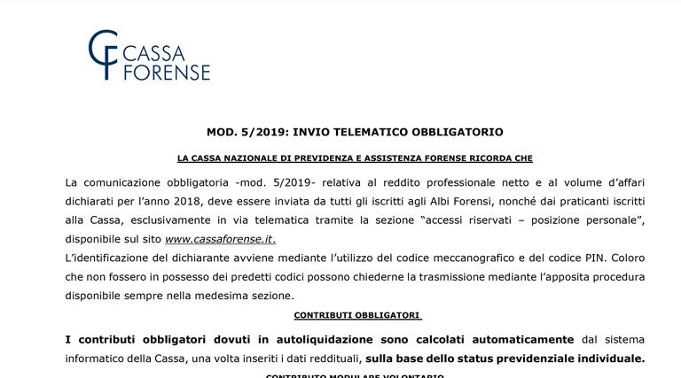 Modello 5/2019 – Comunicazione del Presidente