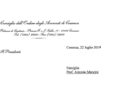 Lettera di condoglianze alla famiglia del bibliotecario dell'Ordine Prof. Antonio Mancini, recentemente scomparso.