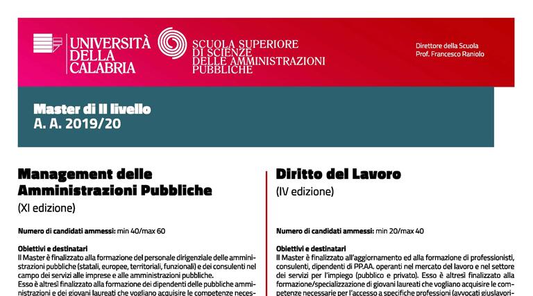 Master Diritto del Lavoro e Management delle Amministrazioni pubbliche
