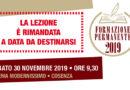 Rinvio della Lezione di Formazione Permanente del 30 Novembre 2019