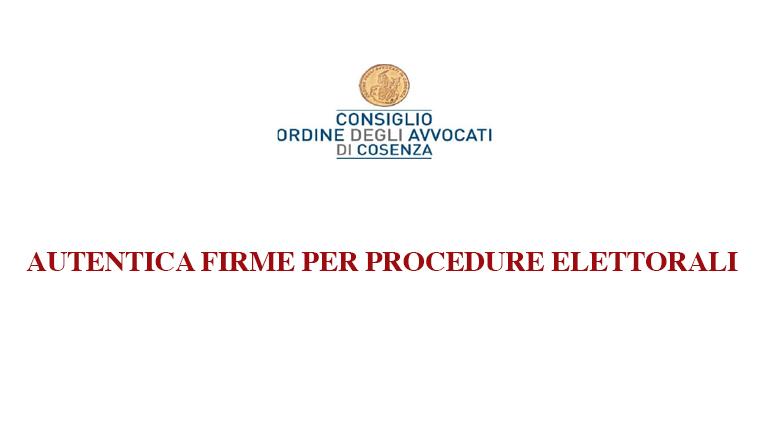 Autentica firme per procedure elettorali